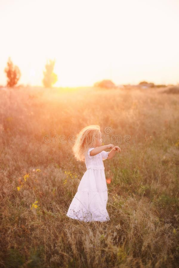 Adorable happy little girl with a curly blonde hair, wearing a white dress , standing in the sunny sunset field among wild grass stock photos