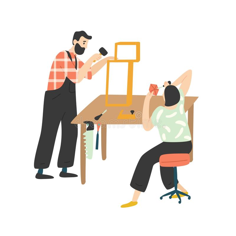 Adorable happy romantic couple creating or repairing furniture. Cute funny man and woman enjoying their hobby together vector illustration