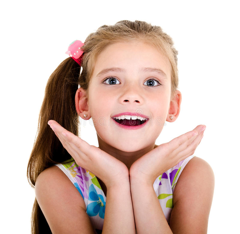 Adorable happy surprised little girl child isolated stock photos
