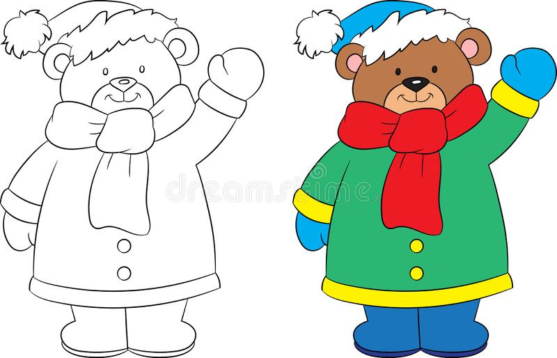 Before and after drawing of a cute little teddy bear, black and white and color, in winter, ideal for children`s coloring book. Adorable before and after vector illustration