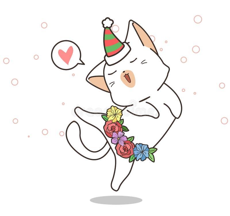 Adorable Katze tanzt stock abbildung