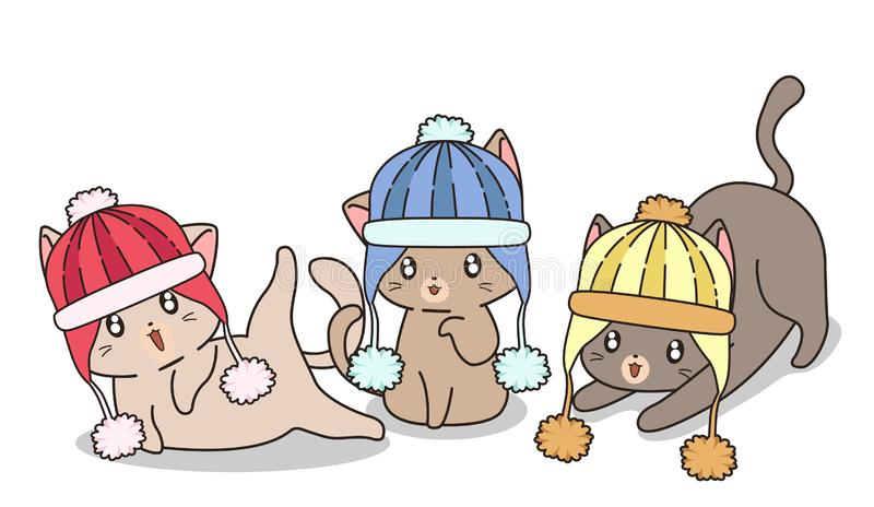 Adorable Katzen tragen Strickhut lizenzfreie abbildung