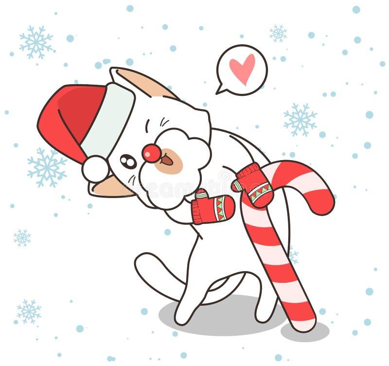 Adorable Katzencharakter trägt einen Hut und Handschuhe mit einer Süßigkeiten an Weihnachten vektor abbildung