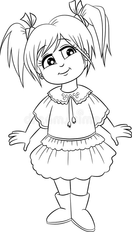 Adorable Kawaii black and white illustration of a little girl, in contour, perfect for children`s coloring book royalty free illustration