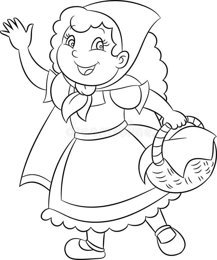 Adorable Kawaii black and white illustration of little red riding hood, in contour, perfect for children`s coloring book royalty free illustration