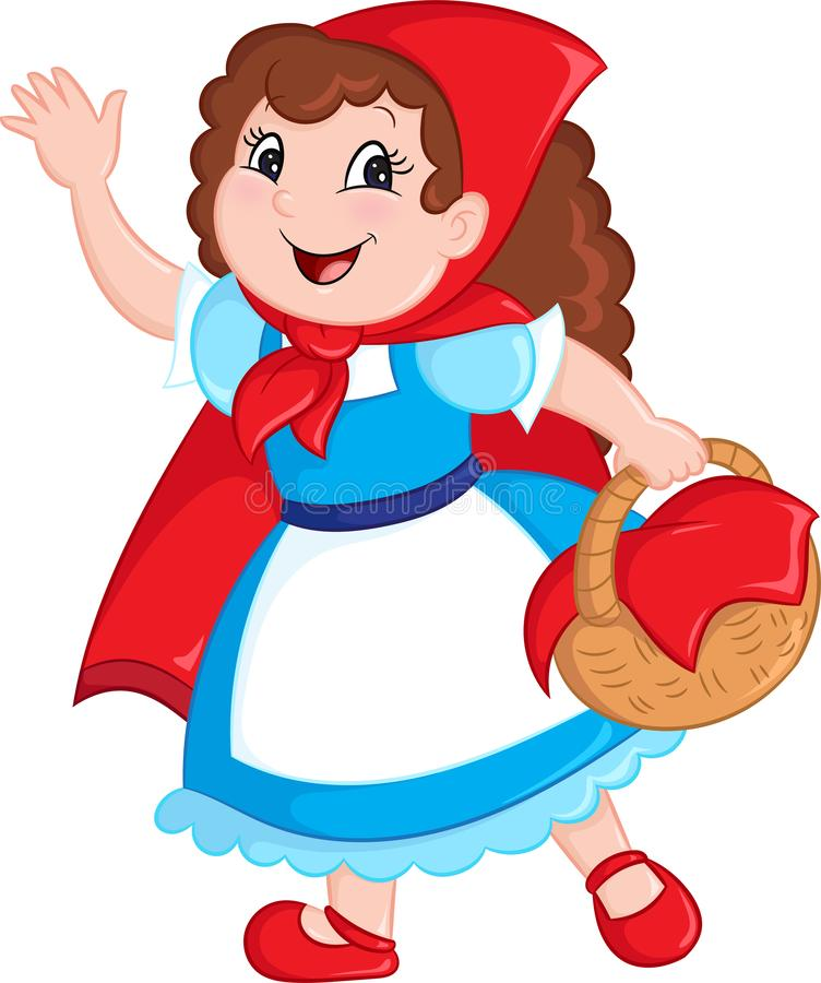 Adorable Kawaii color illustration of little red riding hood, in contour and color perfect for children`s book vector illustration