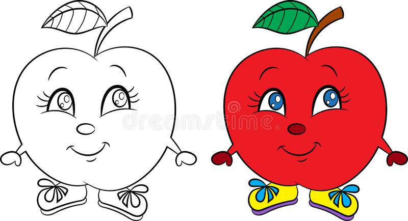 Before and after kawaii drawing of a cute little apple, happy, with shoes, in color and contour, for children`s coloring book stock illustration