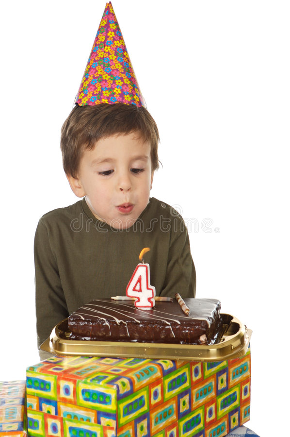 Adorable kid celebrating his birthday royalty free stock image