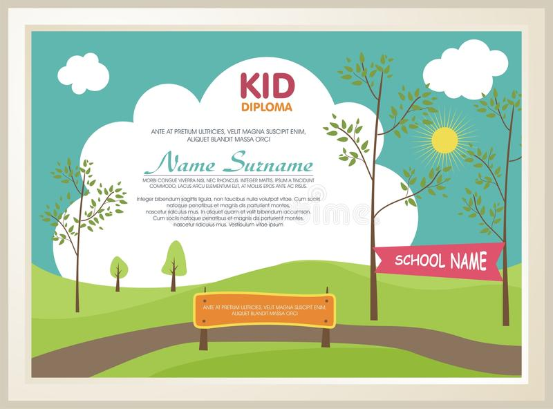 Adorable kid diploma with nature landscape. Template design, with a fresh and adorable background of natural landscapes, is definitely well-liked and perfectly royalty free illustration
