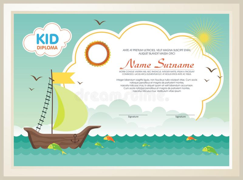 Adorable kid diploma with nature landscape. Template design, with a fresh and adorable background of natural landscapes, is definitely well-liked and perfectly vector illustration