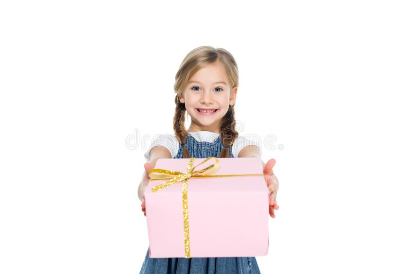 adorable kid with pink gift box, stock photography