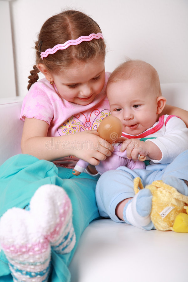 Adorable kids playing royalty free stock images