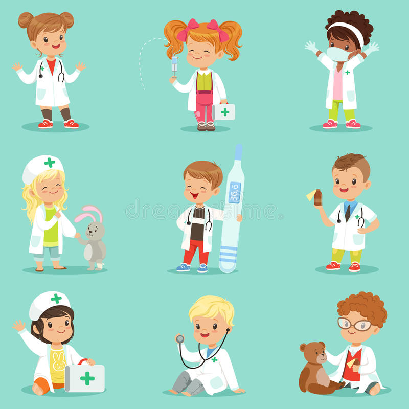 Adorable kids playing doctor set. Smiling little boys and girls dressed vector illustration