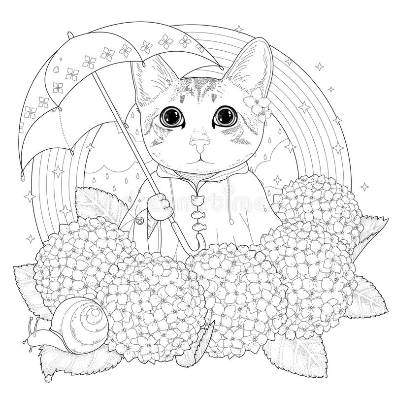 Download Adorable Kitty Coloring Page Stock Illustration