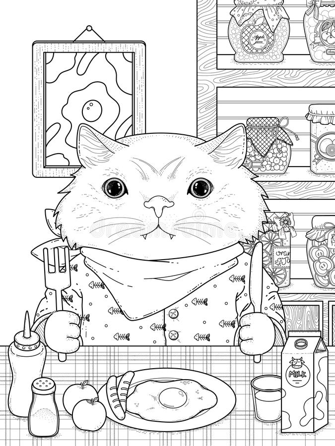 Download Adorable Kitty Coloring Page Stock Vector