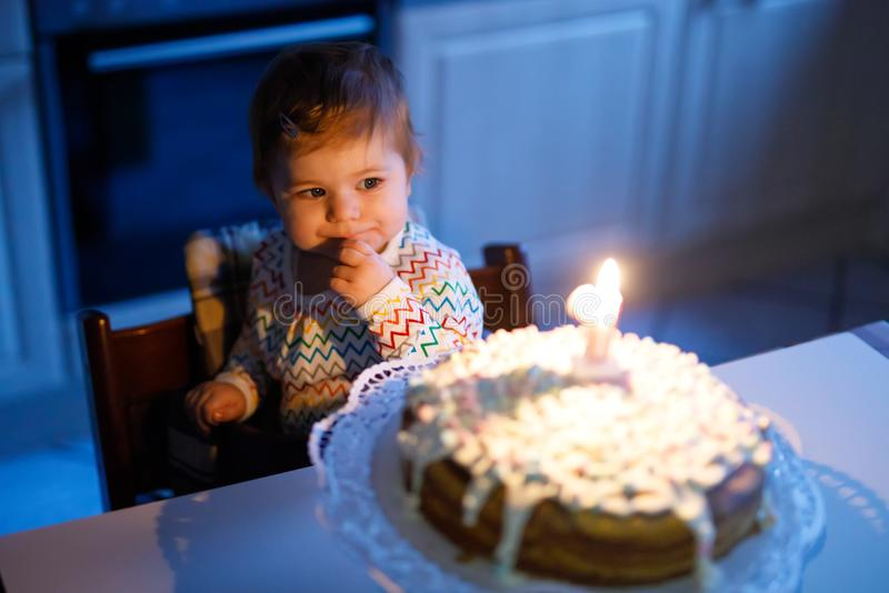 Adorable little baby girl celebrating first birthday. Child blowing one candle on homemade baked cake, indoor. Birthday party for cute toddler child, beautiful stock image