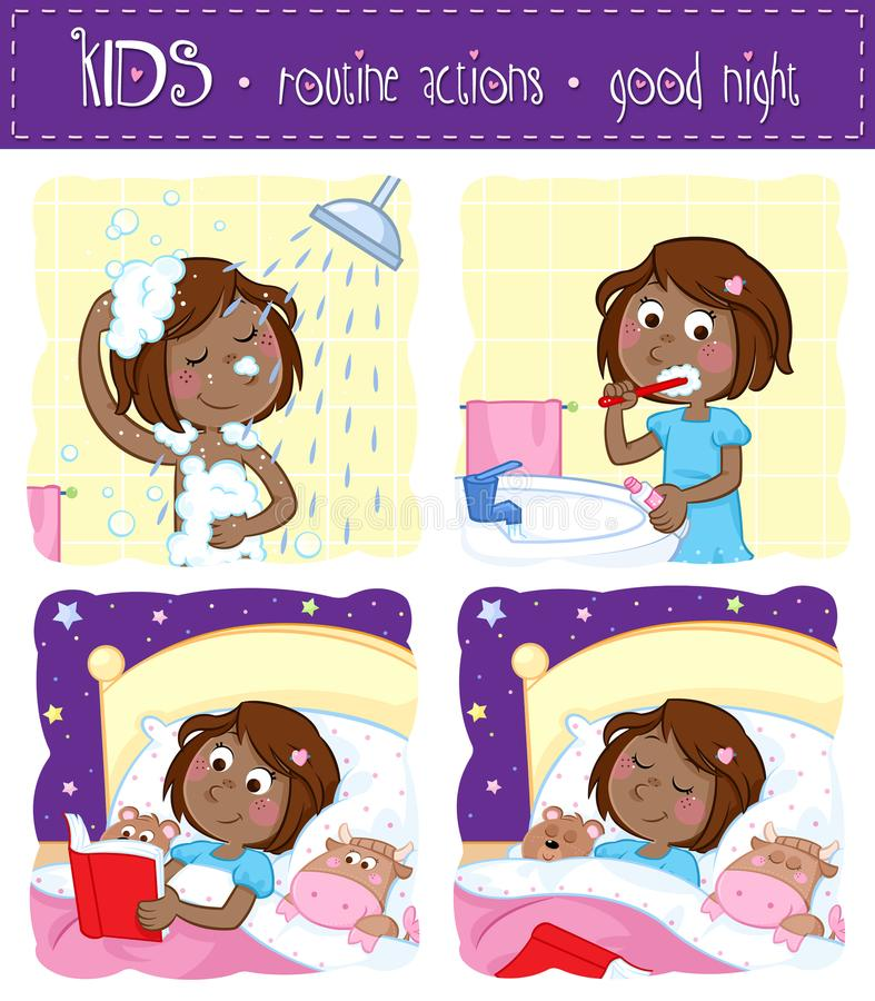 Adorable little black girl and her good night routine - showering, tooth brushing, reading bedtime story, sleeping vector illustration