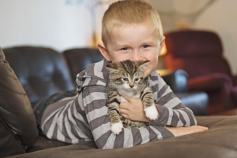 Adorable little boy with cute cat on sofa. An adorable little boy with cute cat on sofa royalty free stock photography