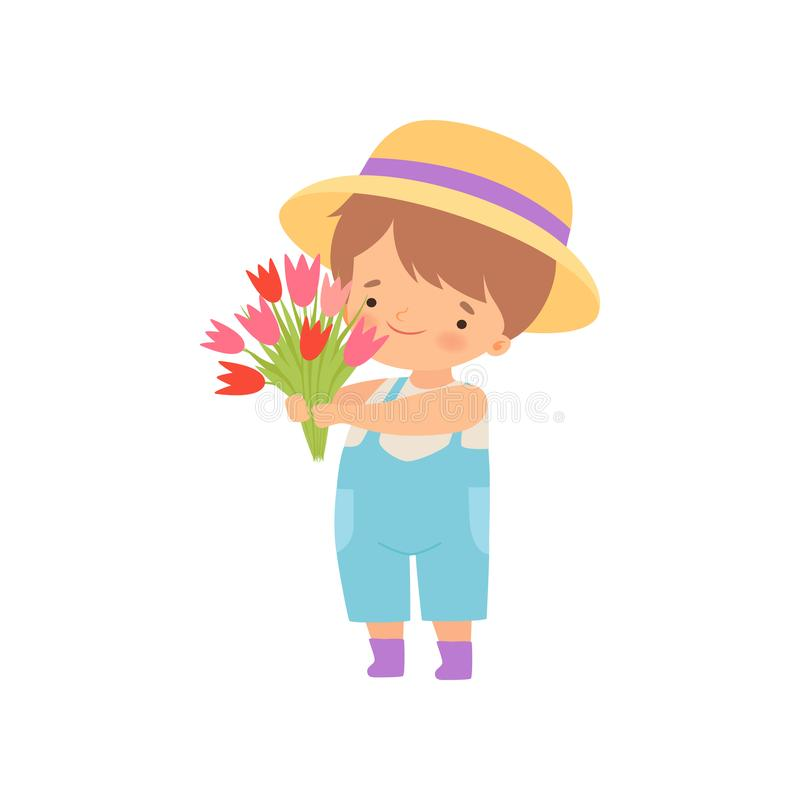 Adorable Little Boy in Hat Standing with Bouquet of Tulip Flowers Cartoon Vector Illustration. On White Background stock illustration