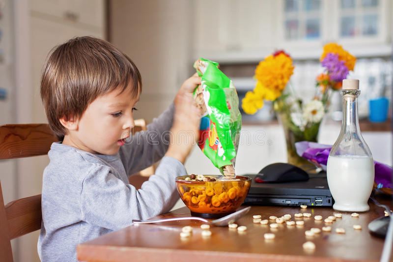 Adorable little boy, having cereals for breakfast while watching. Cartoon on computer royalty free stock images