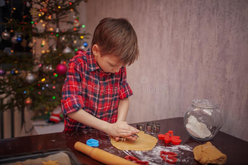 Adorable little boy is preparing the gingerbread, bake cookies in the Christmas kitchen.  royalty free stock image