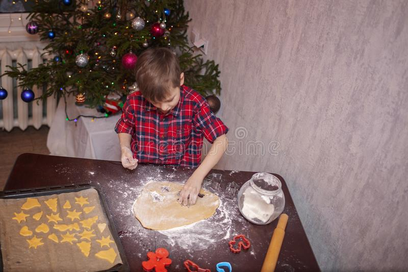 Adorable little boy is preparing the gingerbread, bake cookies in the Christmas kitchen.  stock image