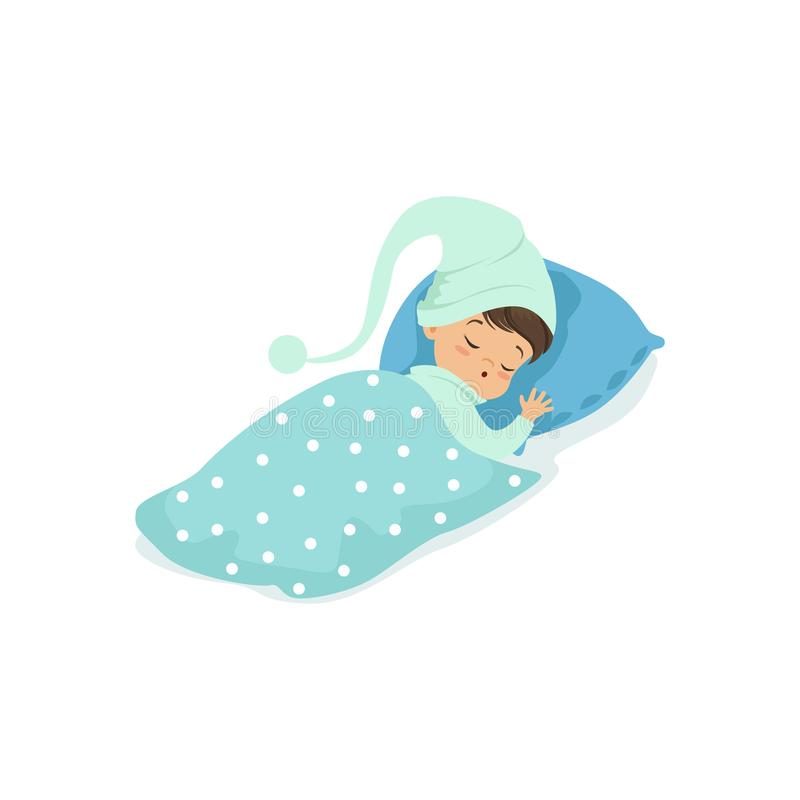 Adorable little boy sleeping on his bed wearing blue hat cartoon character vector illustration stock illustration