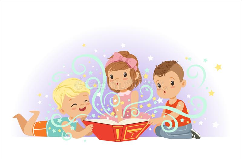 Adorable little boys and girls sitting and reading fairy tales set. Kids fabulous imagination vector illustrations vector illustration
