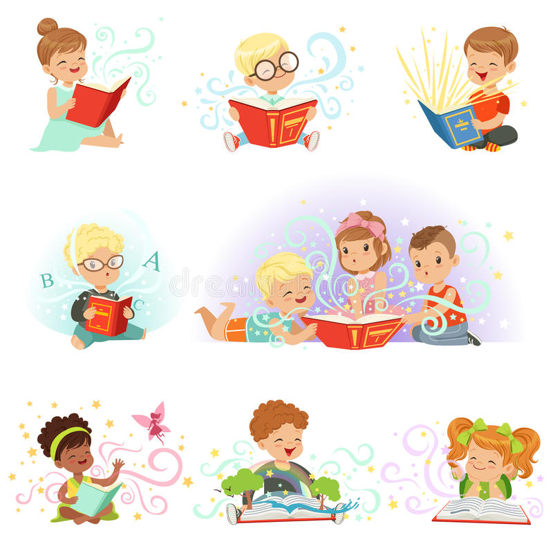 Adorable little boys and girls sitting and reading fairy tales set. Kids fabulous imagination vector illustrations stock illustration