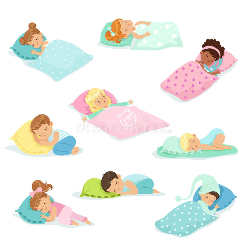 Adorable little boys and girls sleeping sweetly in their beds, colorful characters vector Illustrations stock illustration