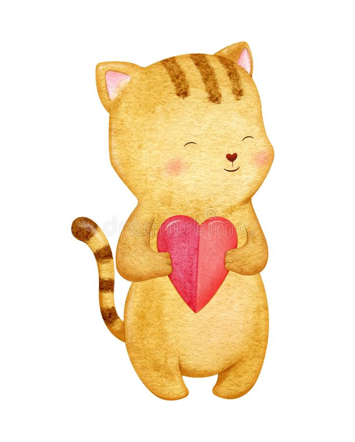 Adorable little brown cat with heart. Romantic character illustration in watercolor stock photo