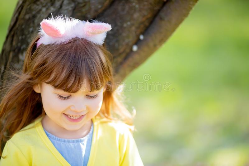 Adorable little funny bunny girl royalty free stock image