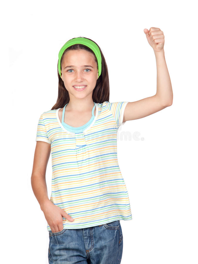 Download Adorable Little Girl With The Arm Raised Stock Photo - Image of adorable, isolation: 15136166