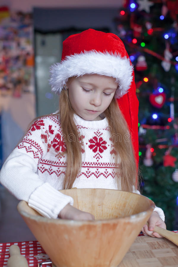 Adorable Little Girl Baking Gingerbread Cookies Stock ...