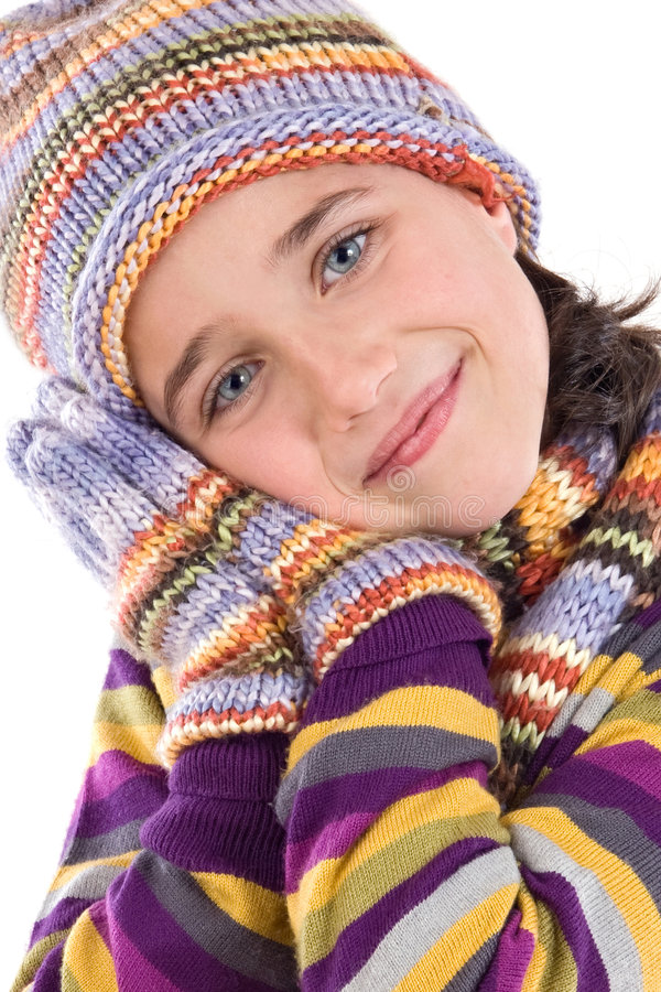 Adorable Little Girl With Clothes For The Winter Royalty Free Stock Image