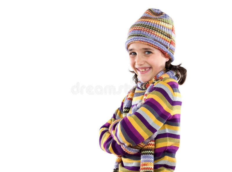 Download Adorable Little Girl With Clothes For The Winter Stock Image - Image: 7488939