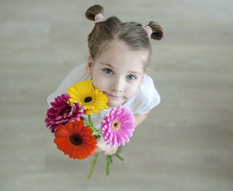 Adorable little girl with cute smile and face expression holding bouquet of pink, purple, yellow, orange gerbera daisies stock image
