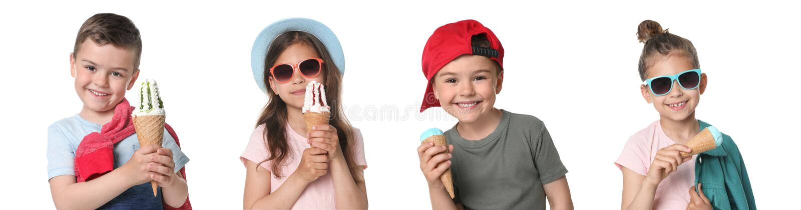 Adorable little girl with delicious ice creams stock photography