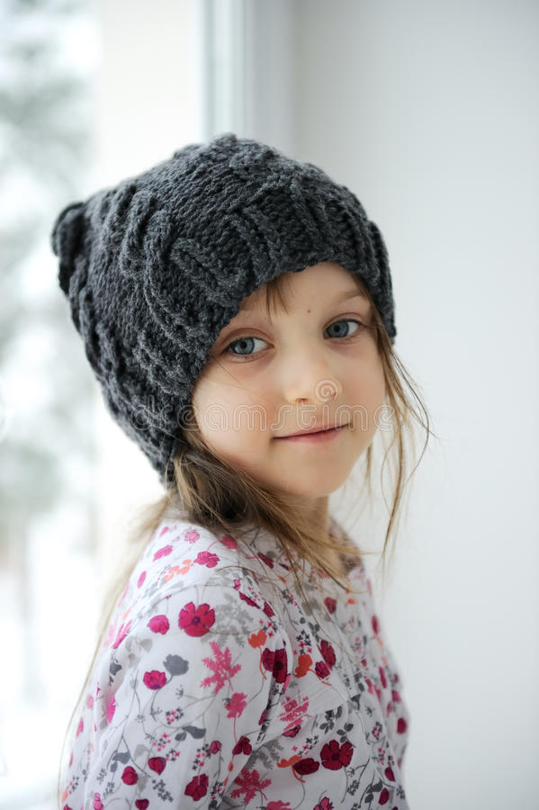 Download Adorable Little Girl In Grey Knit Stock Photo - Image: 17755152