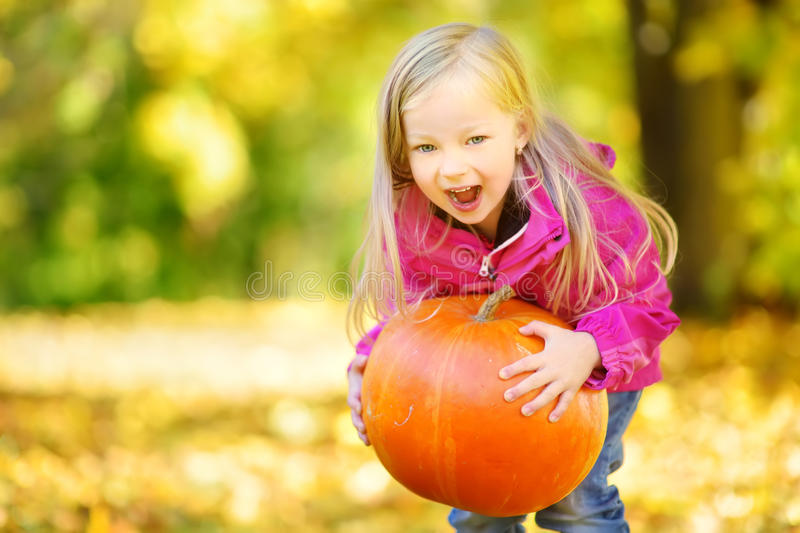 Adorable little girl having fun on a pumpkin patch on beautiful autumn day. Outdoors. Happy child playing in autumn park. Kid gathering yellow fall foliage royalty free stock photo