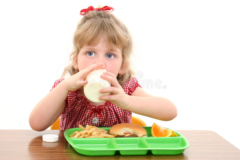 Adorable Little Girl Having Lunch at School stock image