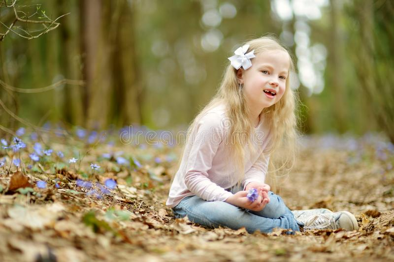 Adorable little girl picking the first flowers of spring in the woods on beautiful sunny spring day stock images