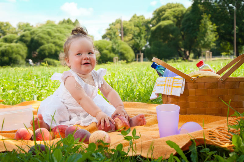 Download Adorable Little Girl On Picnic In The Beauty Park Stock Photo - Image: 35625346