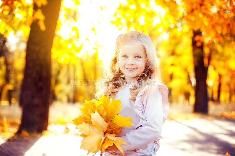 Adorable little girl playing with autumn leaves stock photography