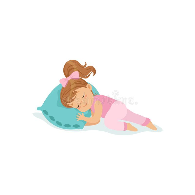 Adorable little girl sleeping on her bed cartoon character vector illustration royalty free illustration
