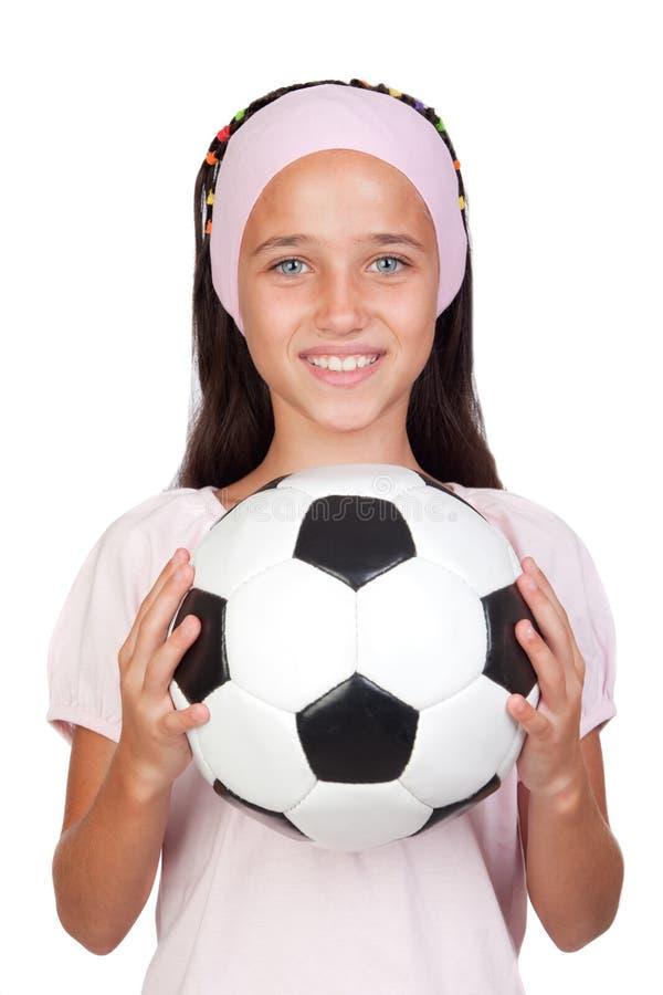 Adorable little girl with soccer ball royalty free stock photos