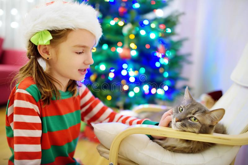 Adorable little girl stroking her cat on Christmas day. Spending time with family and pets on Christmas. Celebrating Xmas at home stock photo