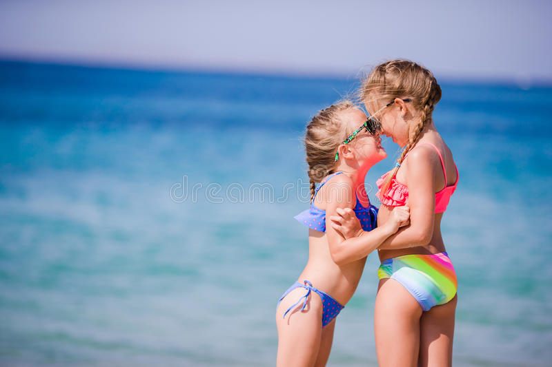 Adorable little girls during summer vacation. Kids enjoy their travel in Mykonos royalty free stock photography