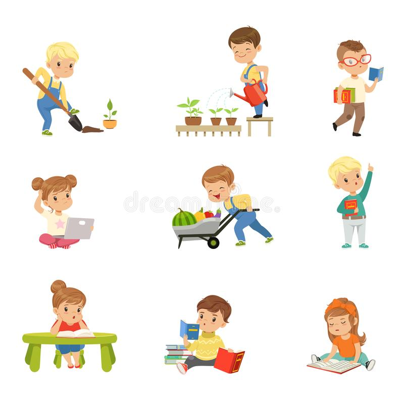 Adorable little kids reading books and working in the garden set, cute preschool children learning, studying and royalty free illustration