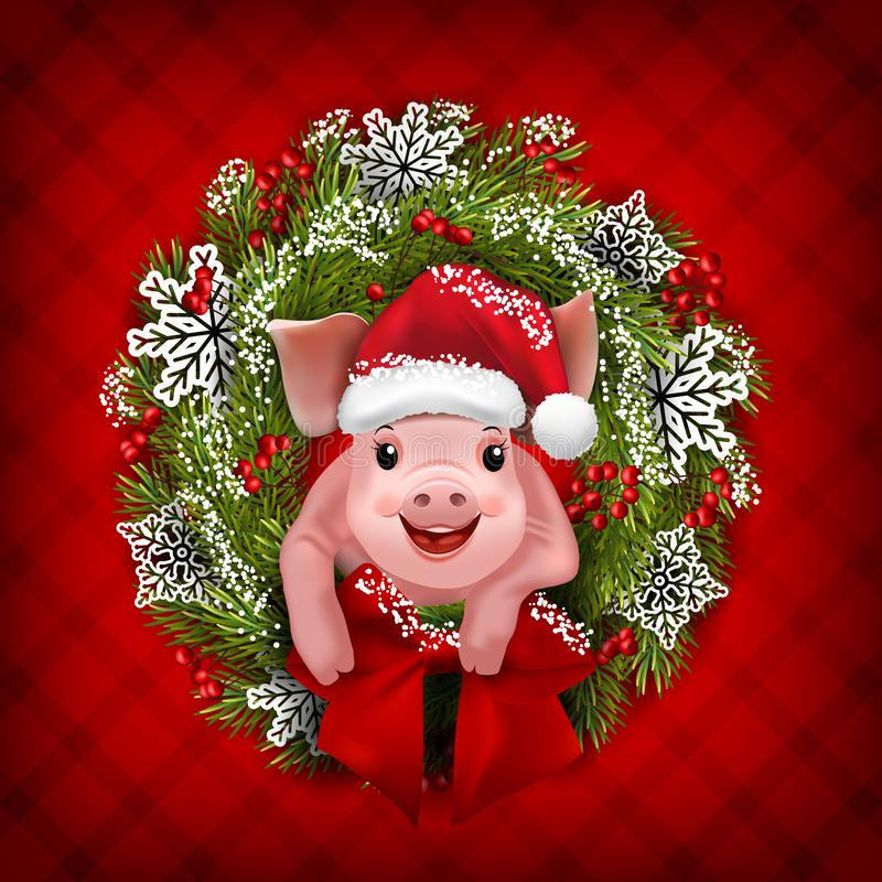 Adorable little pig in Christmas wreath. Vector stock illustration